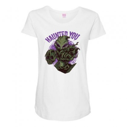 Haunted You Maternity Scoop Neck T-shirt Designed By Daraart