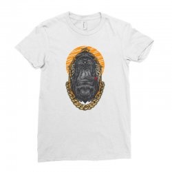 hipster gorilla smoking cigar Ladies Fitted T-Shirt | Artistshot