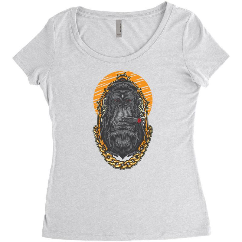 Hipster Gorilla Smoking Cigar Women's Triblend Scoop T-shirt | Artistshot