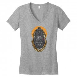 hipster gorilla smoking cigar Women's V-Neck T-Shirt | Artistshot