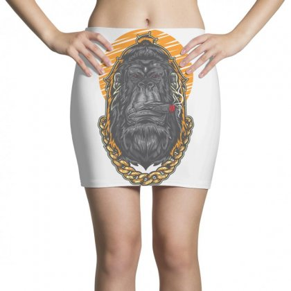 Hipster Gorilla Smoking Cigar Mini Skirts Designed By Daraart