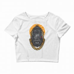 hipster gorilla smoking cigar Crop Top | Artistshot