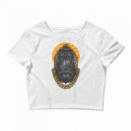 Hipster Gorilla Smoking Cigar Crop Top Designed By Daraart
