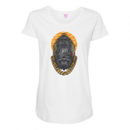 Hipster Gorilla Smoking Cigar Maternity Scoop Neck T-shirt Designed By Daraart