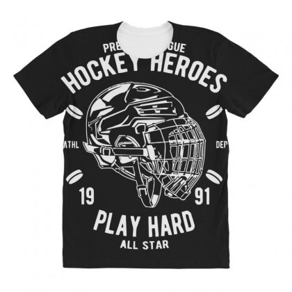 Hockey Heroes All Over Women's T-shirt Designed By Daraart