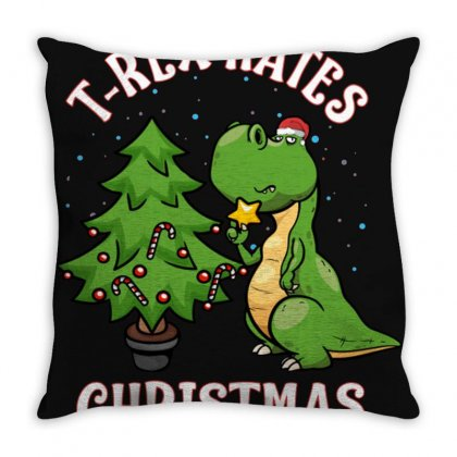 T Rex Hates Christmas Throw Pillow Designed By Donaagnesia