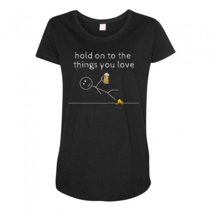 Hold On Maternity Scoop Neck T-shirt Designed By Daraart