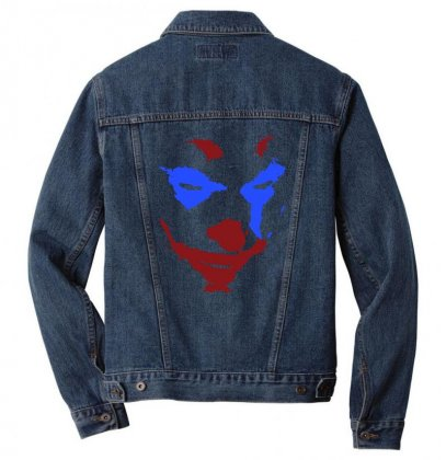 Funny Joker Face Men Denim Jacket Designed By Meganphoebe
