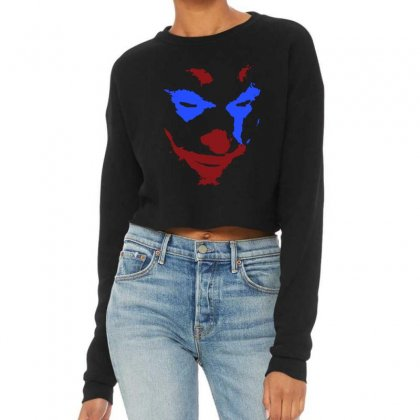 Funny Joker Face Cropped Sweater Designed By Meganphoebe