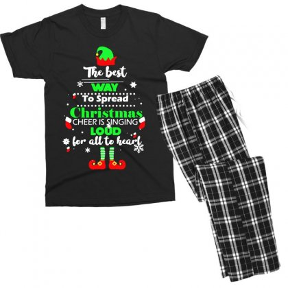 Elf Christmas The Best Way To Spread Christmas Cheer Men's T-shirt Pajama Set Designed By Meganphoebe