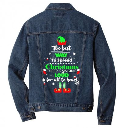 Elf Christmas The Best Way To Spread Christmas Cheer Men Denim Jacket Designed By Meganphoebe