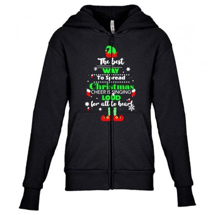 Elf Christmas The Best Way To Spread Christmas Cheer Youth Zipper Hoodie Designed By Meganphoebe