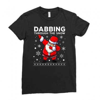 Dabbing Through The Snow Santa Dab Christmas Ladies Fitted T-shirt Designed By Meganphoebe