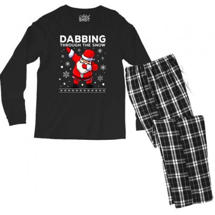 Dabbing Through The Snow Santa Dab Christmas Men's Long Sleeve Pajama Set Designed By Meganphoebe