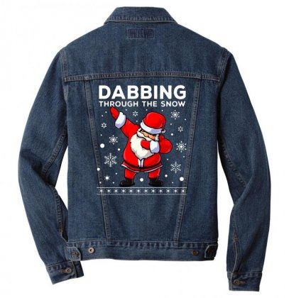 Dabbing Through The Snow Santa Dab Christmas Men Denim Jacket Designed By Meganphoebe