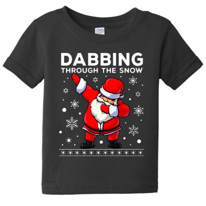 Dabbing Through The Snow Santa Dab Christmas Baby Tee Designed By Meganphoebe