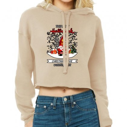 Dabbing Santa Claus This Is Hallmark Christmas Movie Watching Cropped Hoodie Designed By Meganphoebe