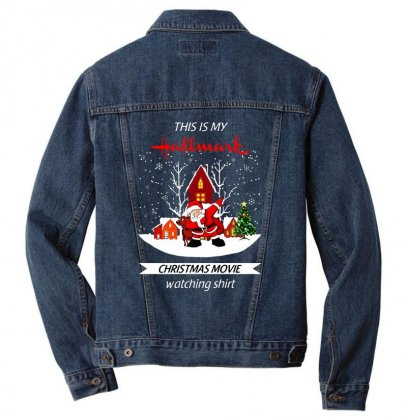 Dabbing Santa Claus This Is Hallmark Christmas Movie Watching Men Denim Jacket Designed By Meganphoebe