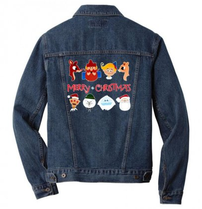 Rudolph The Red Nosed Reindeer Men Denim Jacket Designed By Meganphoebe