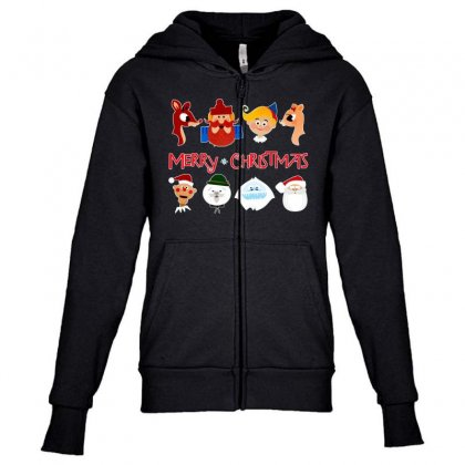 Rudolph The Red Nosed Reindeer Youth Zipper Hoodie Designed By Meganphoebe