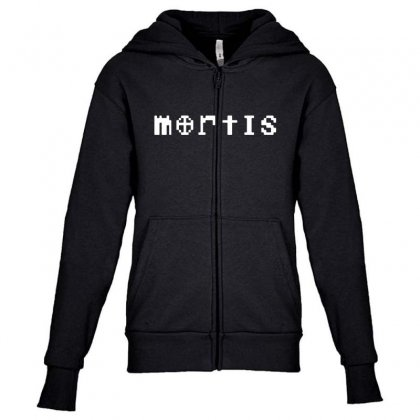 Mortis In White Youth Zipper Hoodie Designed By Meganphoebe