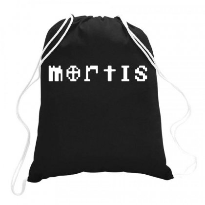 Mortis In White Drawstring Bags Designed By Meganphoebe