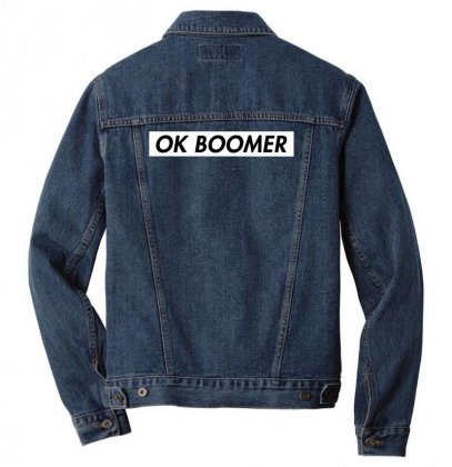 Ok Boomer   White For Fun Men Denim Jacket Designed By Meganphoebe