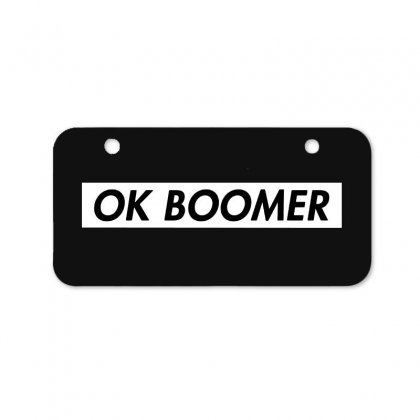 Ok Boomer   White For Fun Bicycle License Plate Designed By Meganphoebe