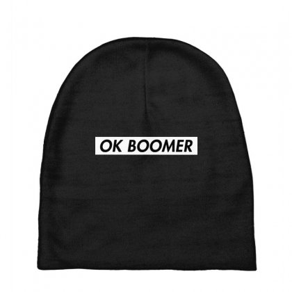 Ok Boomer   White For Fun Baby Beanies Designed By Meganphoebe
