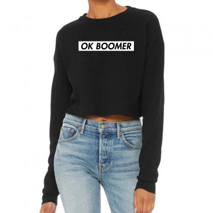 Ok Boomer   White For Fun Cropped Sweater Designed By Meganphoebe
