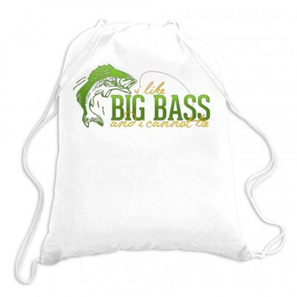 I Like Big Bass Drawstring Bags Designed By Daraart