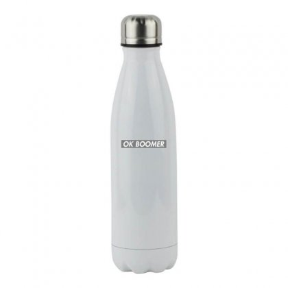 Ok Boomer   Dark For Fun Stainless Steel Water Bottle Designed By Meganphoebe