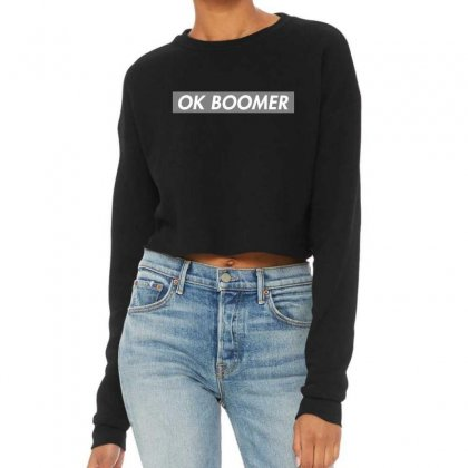 Ok Boomer   Dark For Fun Cropped Sweater Designed By Meganphoebe
