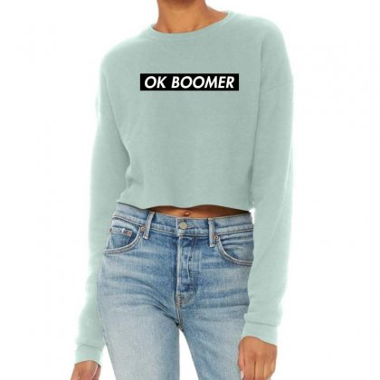 Ok Boomer   Black For Fun Cropped Sweater Designed By Meganphoebe