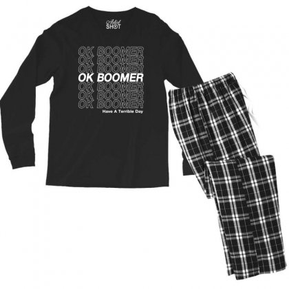 Ok Boomer   White Style Men's Long Sleeve Pajama Set Designed By Meganphoebe