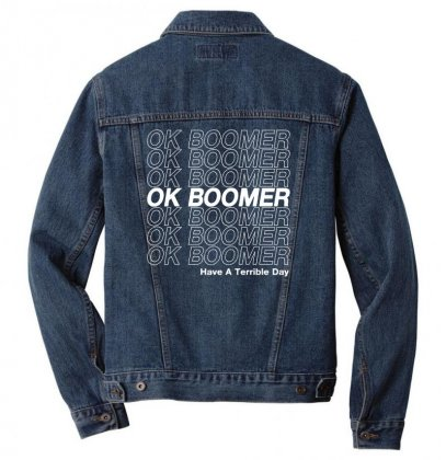 Ok Boomer   White Style Men Denim Jacket Designed By Meganphoebe