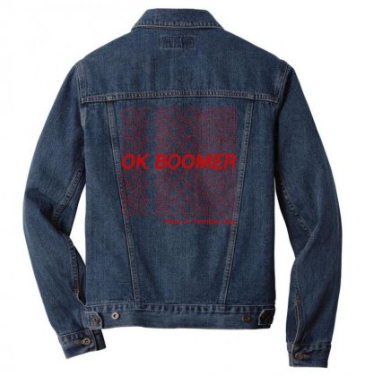 Ok Boomer   Red Style Men Denim Jacket Designed By Meganphoebe