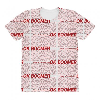 Ok Boomer   Red Style All Over Women's T-shirt Designed By Meganphoebe