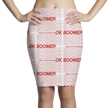 Ok Boomer   Red Style Pencil Skirts Designed By Meganphoebe
