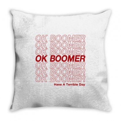 Ok Boomer   Red Style Throw Pillow Designed By Meganphoebe