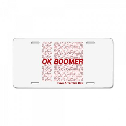 Ok Boomer   Red Style License Plate Designed By Meganphoebe