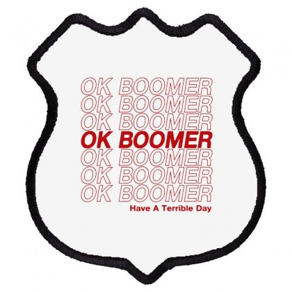 Ok Boomer   Red Style Shield Patch Designed By Meganphoebe
