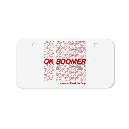 Ok Boomer   Red Style Bicycle License Plate Designed By Meganphoebe