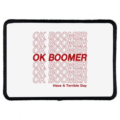 Ok Boomer   Red Style Rectangle Patch Designed By Meganphoebe