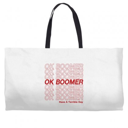 Ok Boomer   Red Style Weekender Totes Designed By Meganphoebe