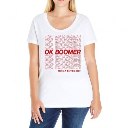 Ok Boomer   Red Style Ladies Curvy T-shirt Designed By Meganphoebe