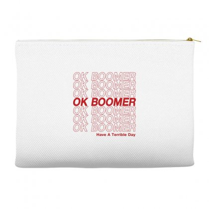 Ok Boomer   Red Style Accessory Pouches Designed By Meganphoebe