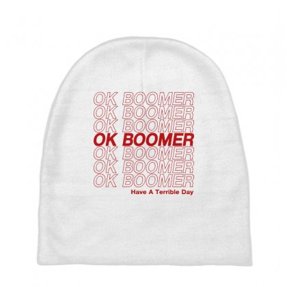 Ok Boomer   Red Style Baby Beanies Designed By Meganphoebe