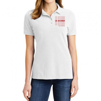 Ok Boomer   Red Style Ladies Polo Shirt Designed By Meganphoebe