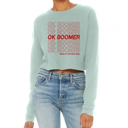 Ok Boomer   Red Style Cropped Sweater Designed By Meganphoebe